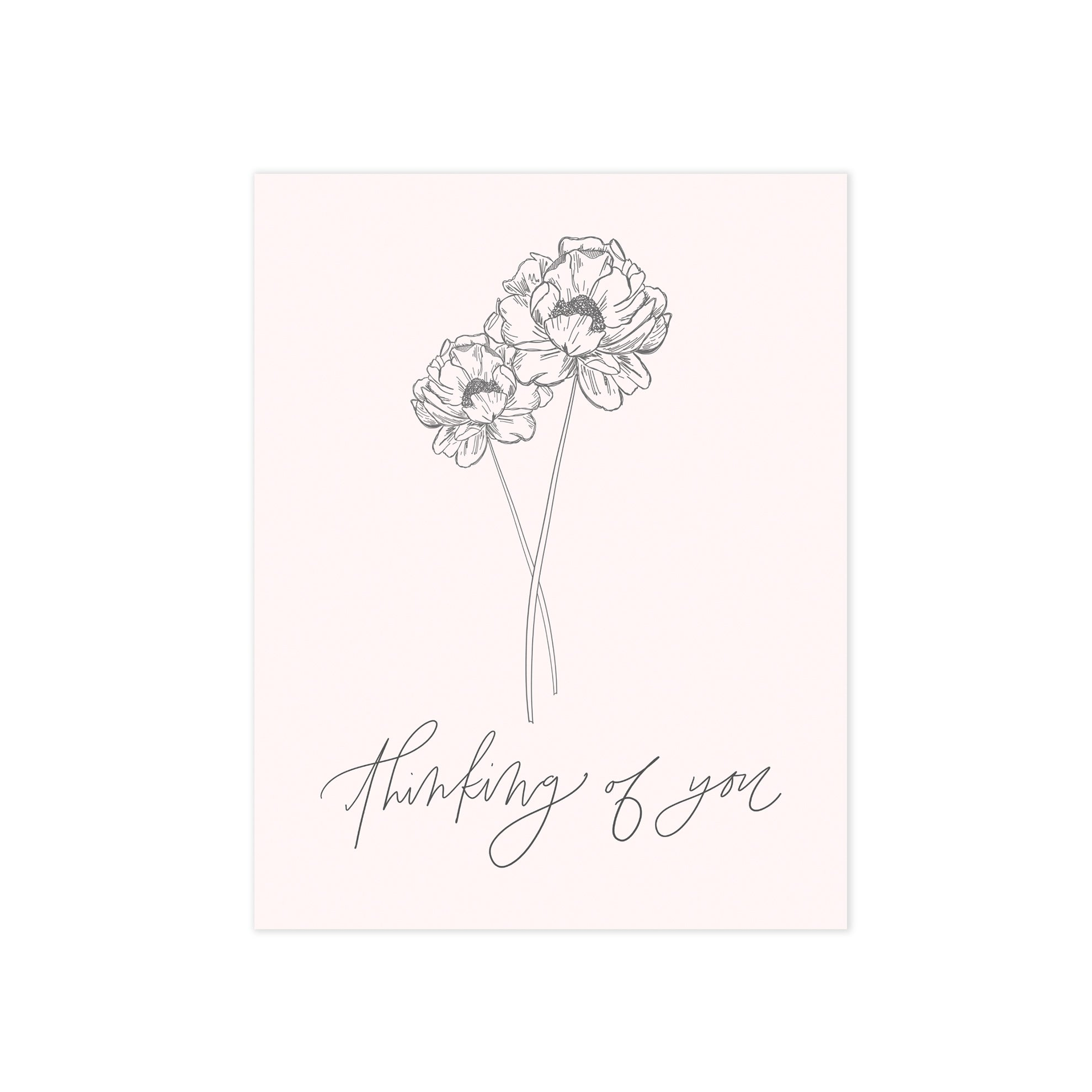 botanical floral illustration blush pink thinking of you oh joyful day greeting card