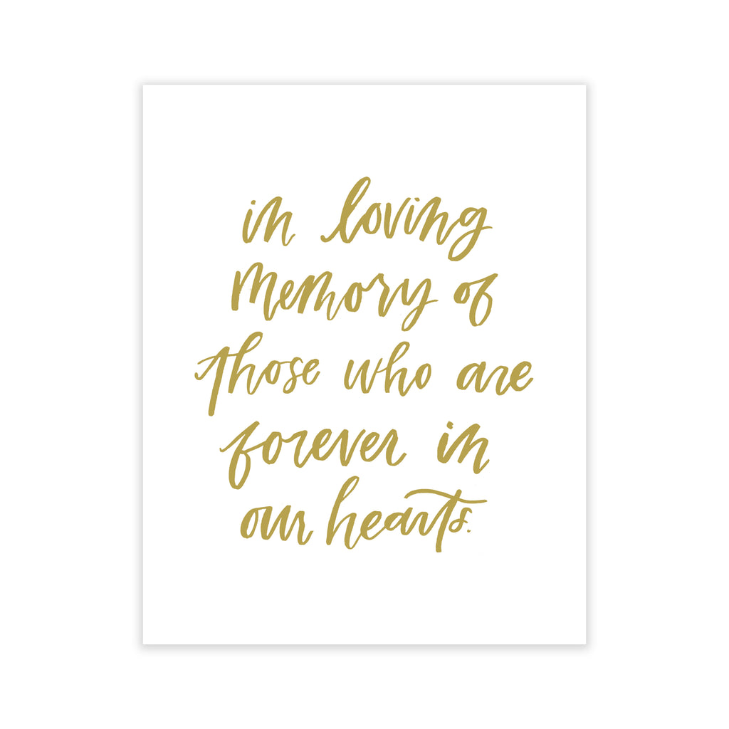 oh joyful day watercolor background brush lettering in loving memory of those who are forever in our hearts wedding memorial print