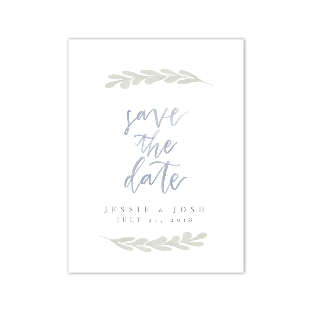 Simple Greenery Watercolor Save the Date