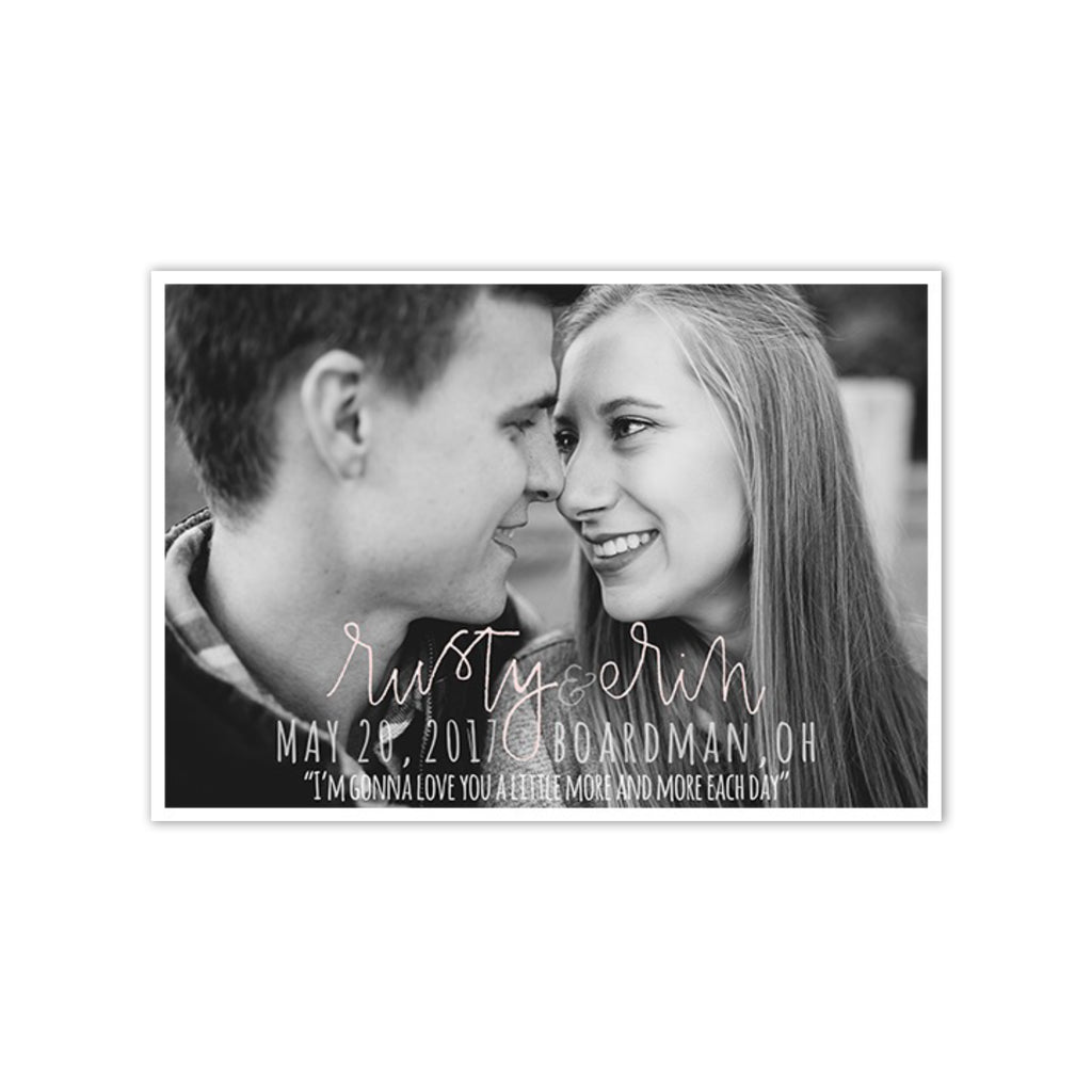 Simple Hand Lettered Photo Save the Date