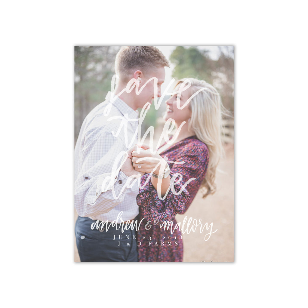 Statement Brush Lettered Photo Save the Date