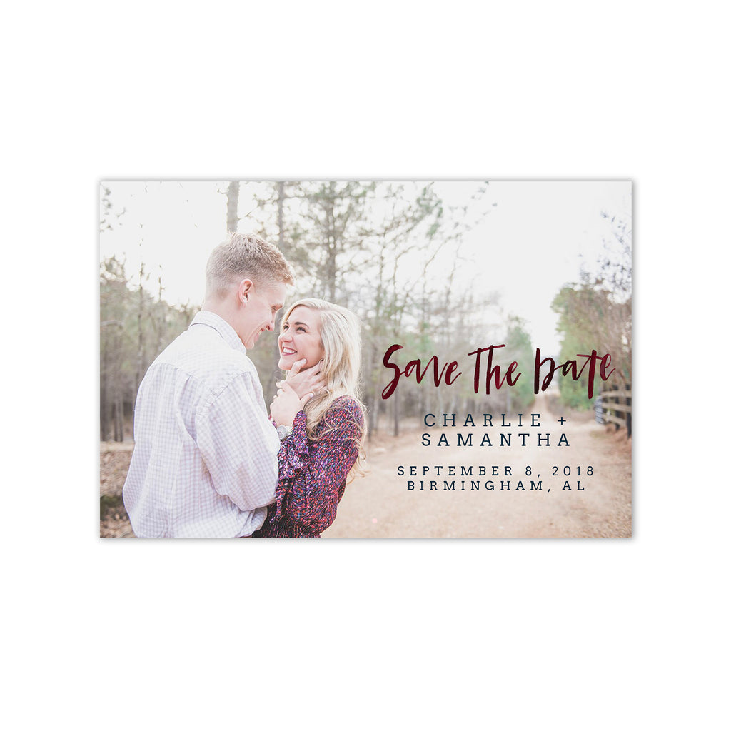 Sweet Brush Lettered Photo Save the Date