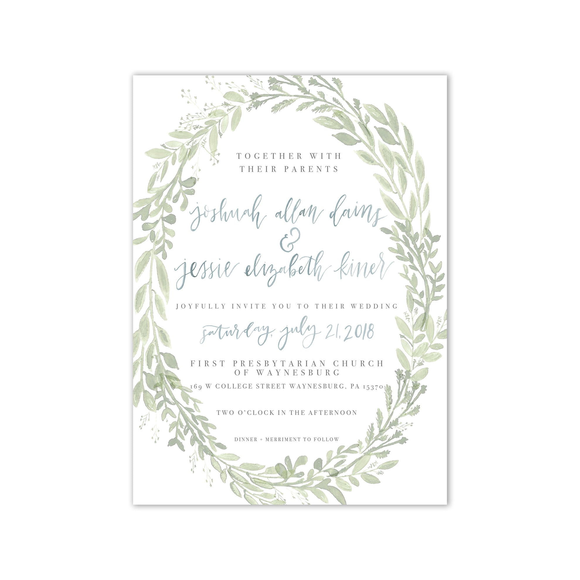 Simple Watercolor Greenery Wedding Invitation Suite Oh