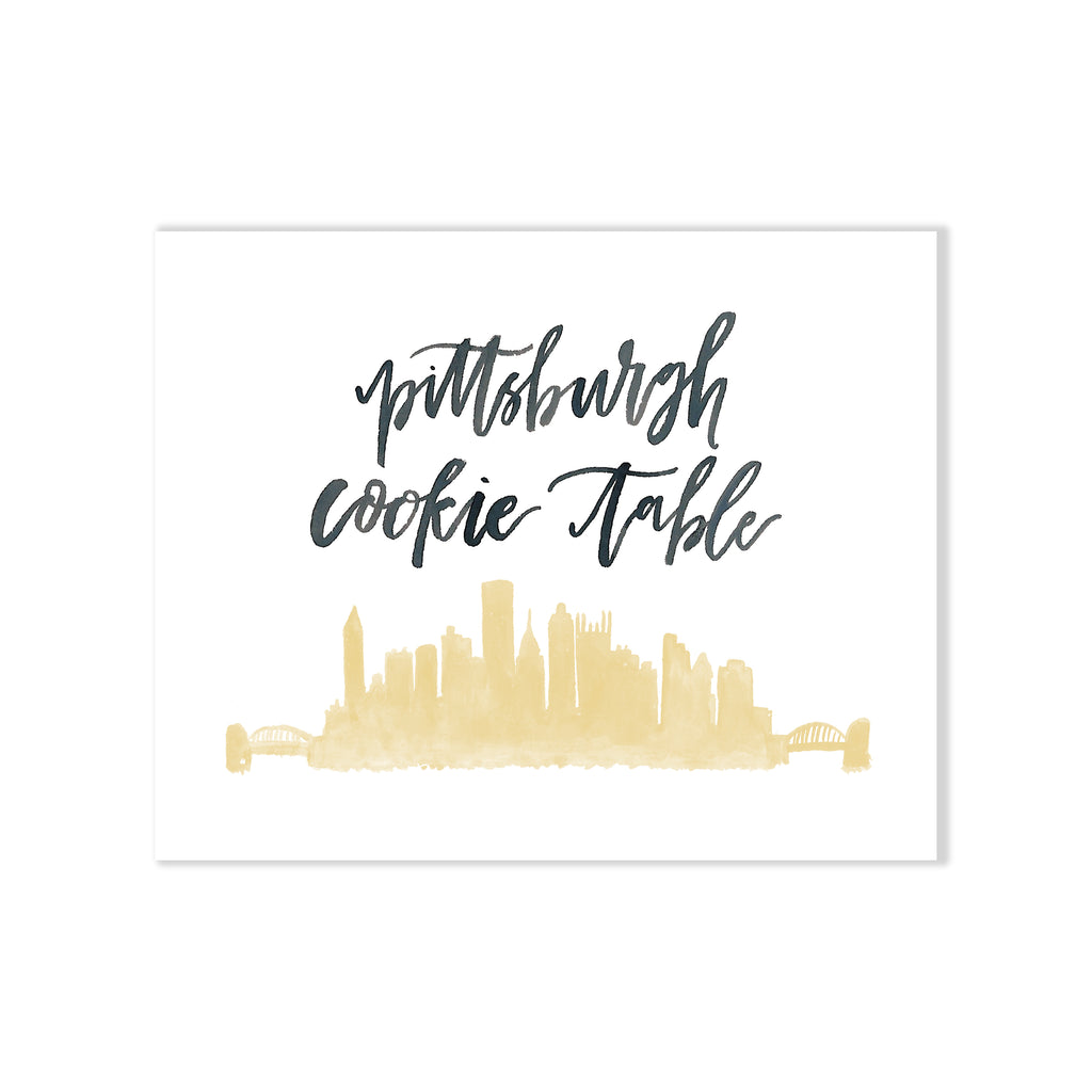 Oh Joyful Day Wedding Day Print Cards and Gifts Print Wedding Day Art Wedding Decorations Watercolor Wedding decorations wedding print wedding day print wedding day art Pittsburgh cookie table sign Pittsburgh cookie table Pittsburgh skyline print Pittsburgh skyline art