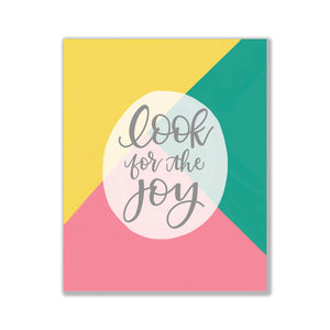 look for the joy print yellow art print green art print pink art print joyful art bright colored art print hand lettered art oh joyful day Pittsburgh art Pittsburgh artist