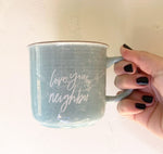 light blue camper mug love your neighbor mug campfire mug be kind mug oh joyful day mug gift for her gift for mom gift for grandma