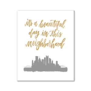 mister rogers mr rogers beautiful day in the neighborhood print mister rogers art print Pittsburgh print Pittsburgh art Pittsburgh skyline art Pittsburgh skyline watercolor oh joyful day