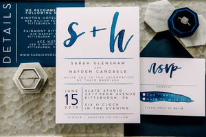 watercolor lettering wedding invitation blue wedding invitation wedding invitation simple wedding invitation classic wedding invitation modern wedding invitation Pittsburgh wedding invitation Pittsburgh weddings Pittsburgh wedding vendors watercolor wedding invitation wedding invitation navy wedding invitation custom wedding invitation hand lettered wedding invitation Pittsburgh paper goods wedding paper goods Pittsburgh artist Pittsburgh wedding art