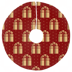 Gold present patterned Christmas Tree Skirts-GranvilleDesigns