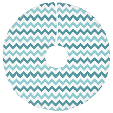 Teal and Blue Chevron Christmas Tree Skirt-GranvilleDesigns