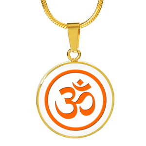 Om Necklace Orange Om in Gold Setting-GranvilleDesigns