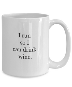 Coffee mugs for runners: run for wine-GranvilleDesigns