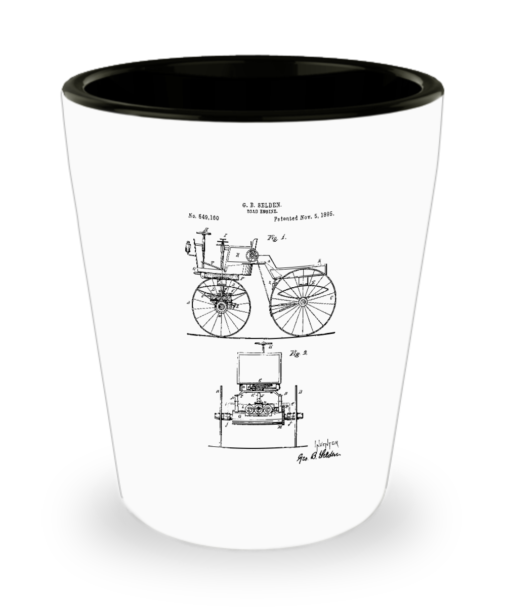 Car Lover shot glass: road engine patent-GranvilleDesigns