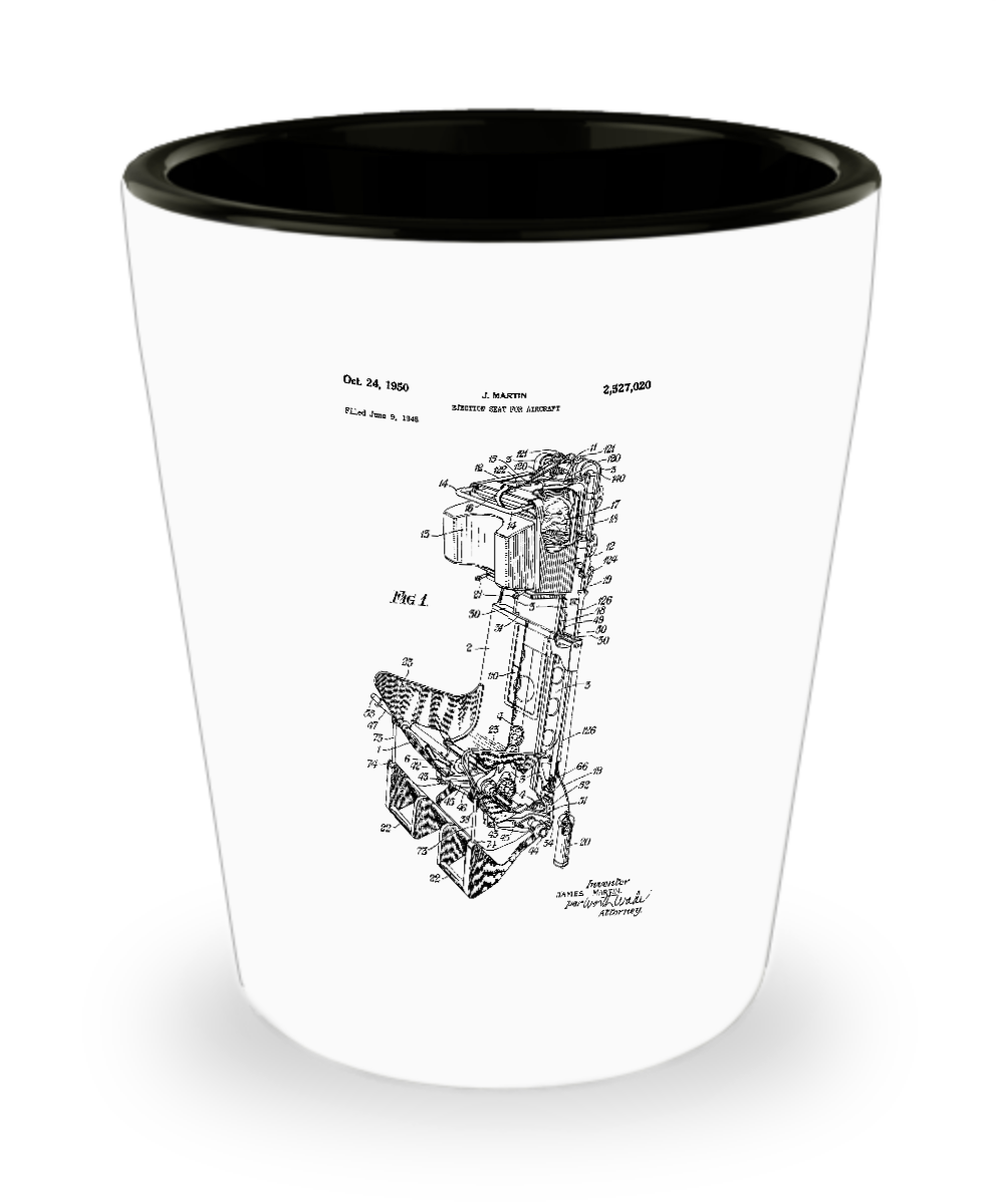 Airplane Pilot Gifts: Ejection Seat Patent Shot Glass-GranvilleDesigns