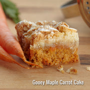 Carrot Gooey Butter Cake with walnuts and currants