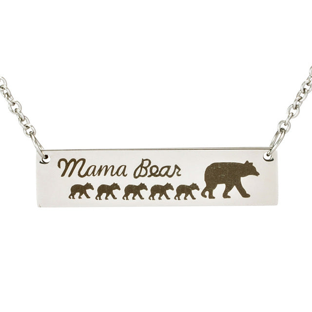 Mama bear tag engraved animal pendant necklace twin bin mama bear tag engraved animal pendant necklace aloadofball Image collections