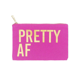 Pretty AF pink canvas makeup bag