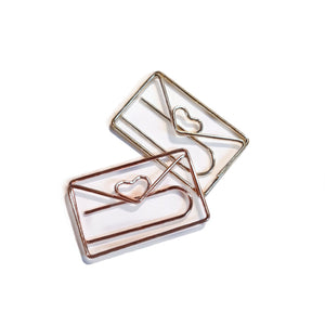 Gold & Rose Gold Heart Envelope Paper Clips