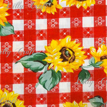 "Sunflowers Checkered Poly Cotton, 58""/60"" Inches Wide – Sold By The Yard"
