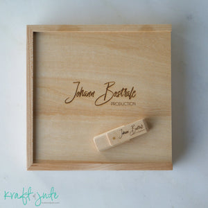 4x6 album, print, proof wooden box, keepsake box, holds USB Flash drive, with engraving on lid and memory stick
