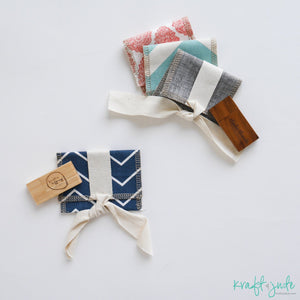 Mini Fabric USB Pouch with Bamboo USB