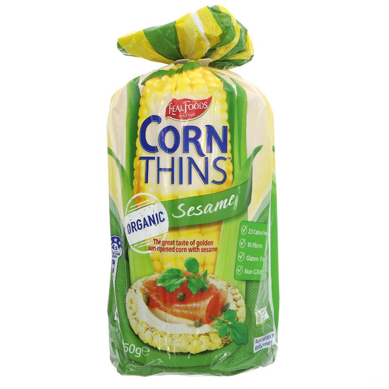 Real Foods Corn Thins - Sesame (150g)
