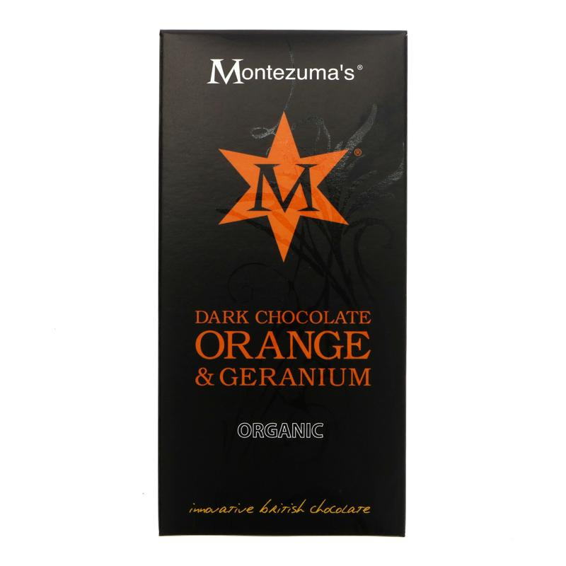 Montezumas Dark Choc, Geranium & Orange (100g)