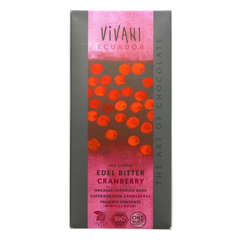 Vivani Organic Chocolate Dark Choc & Cranberry (100g)