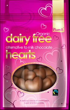 Organic Fairtrade Alternative to Milk Chocolate Hearts (125g)