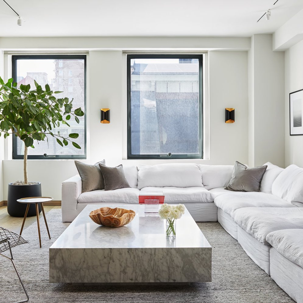 Nature-inspired living room with marble coffee table and white cloud couch