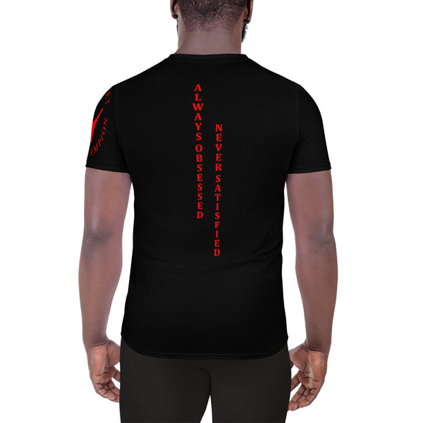 ChasDre Mindset of a Champion All-Over Print Men's Athletic T-shirt Black/Red