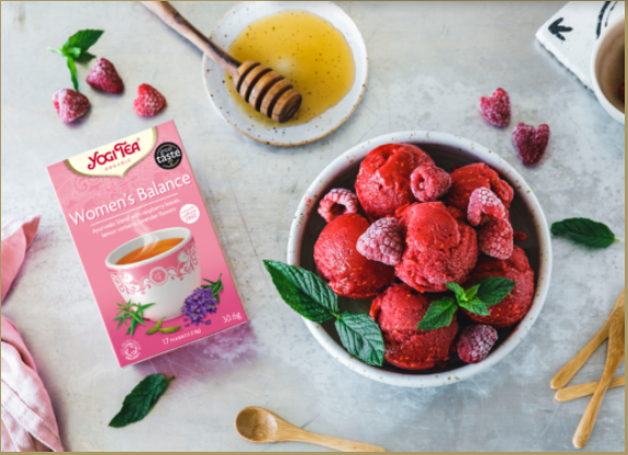 Fruity raspberry sorbet with YOGI TEA® Women's Balance