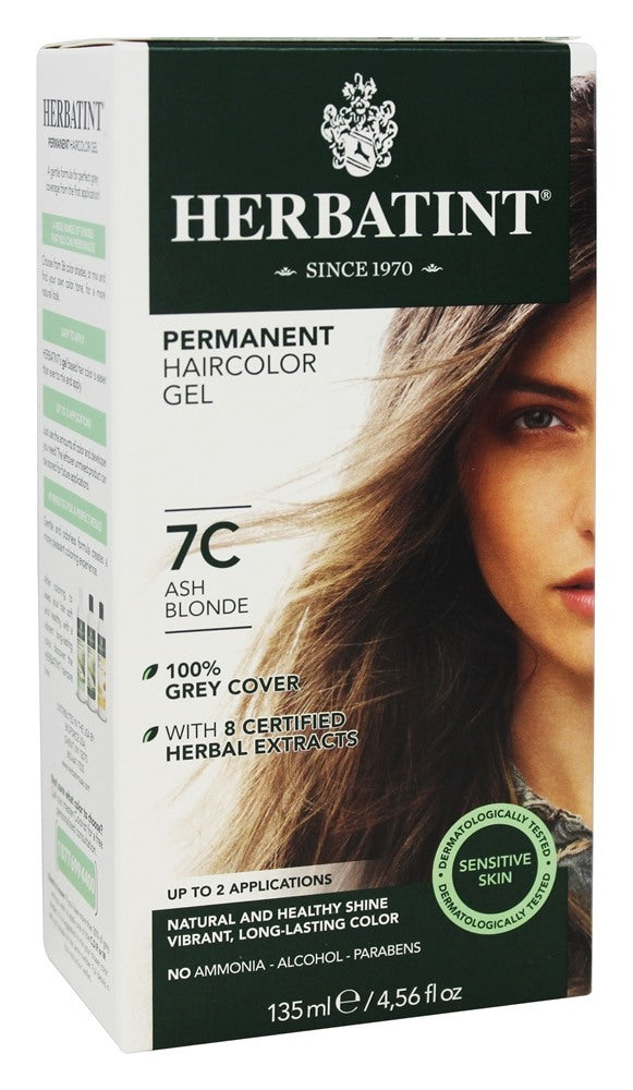 HERBATINTPERMANENT DYE CARE OF 8 PLANT EXTRACTS 150ML - HAIR COLOUR: 7C ASH BLOND