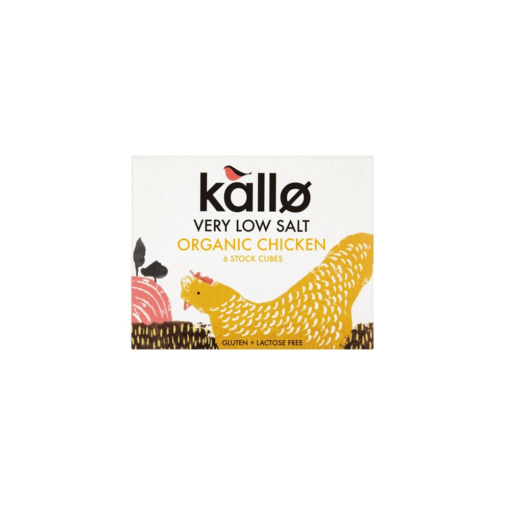 KALLO ORGANIC LOW SALT CHICKEN STOCK CUBES 66G