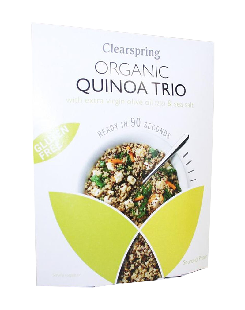 Clearspring Organic Gluten Free 90sec Quinoa Trio - With Extra Virgin Olive Oil & Sea Salt (250g)