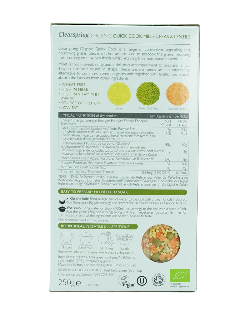 Clearspring Quick Cook Organic - Millet, Peas & Lentils (250g)