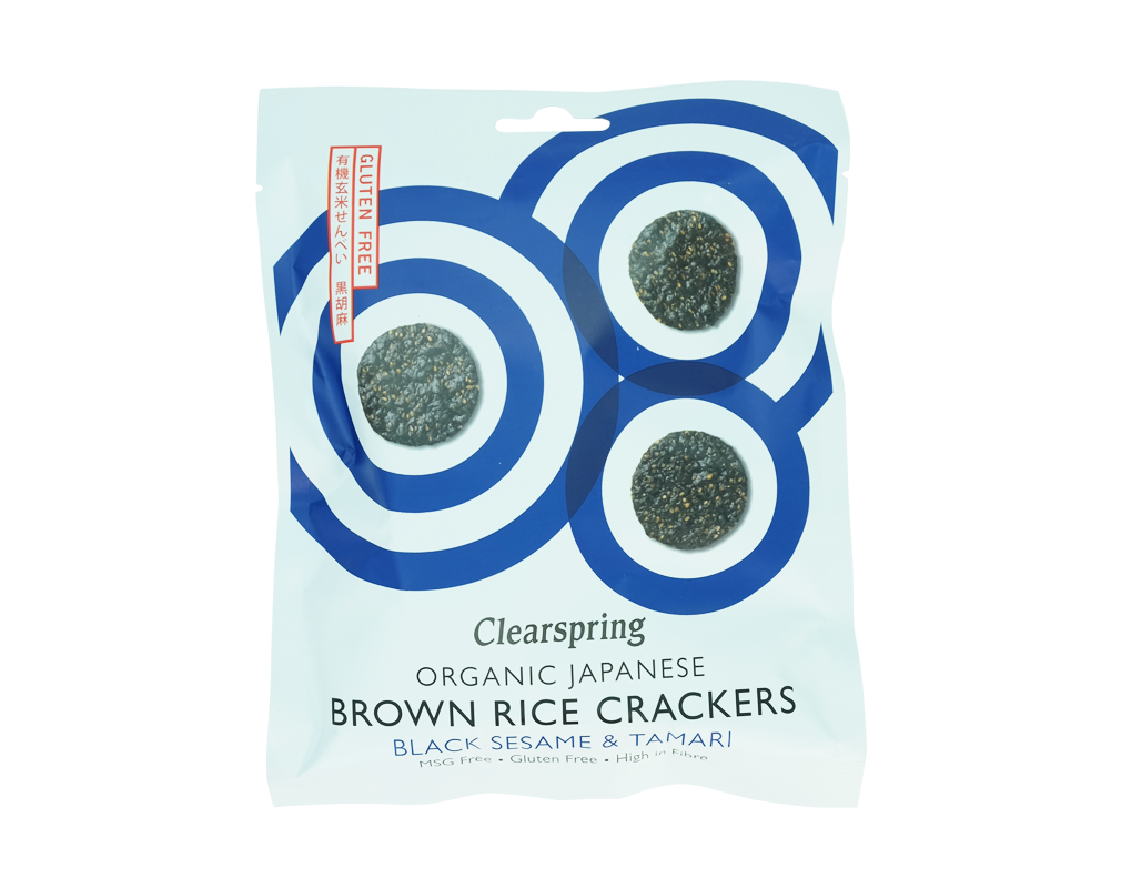 Clearspring Organic Japanese Brown Rice Crackers - Black Sesame (40g)