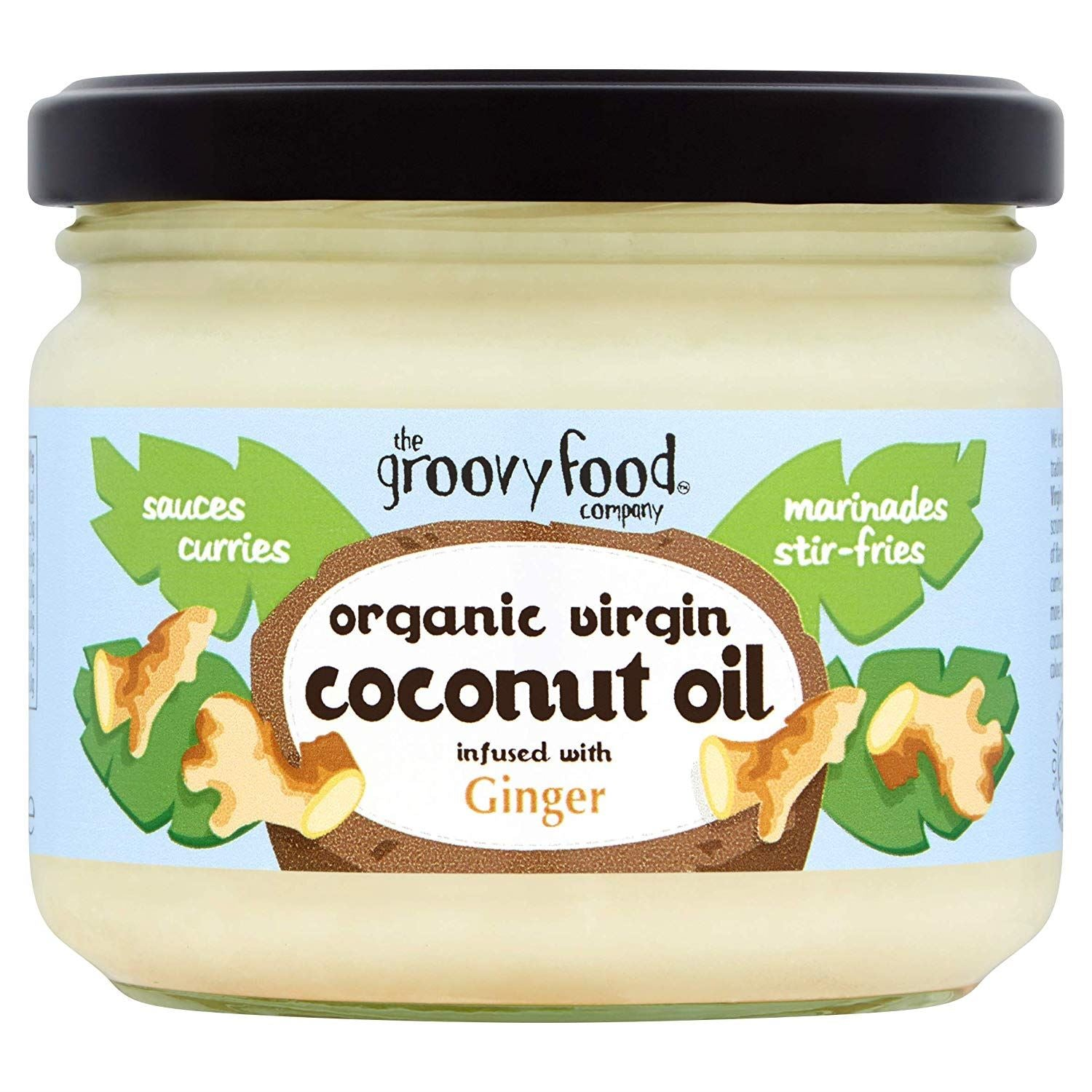 Groovy Organic Coconut Oil with Ginger 283ml glass