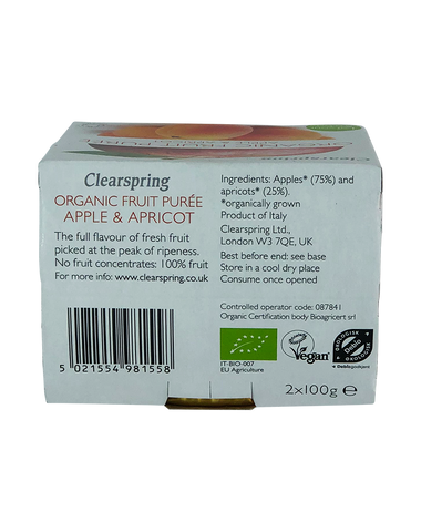Clearspring Organic Fruit Purée - Apple & Apricot 2x100g
