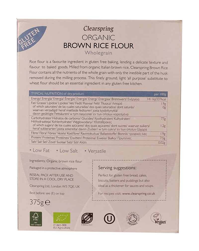 Clearspring Organic Gluten Free Brown Rice Flour (375g)