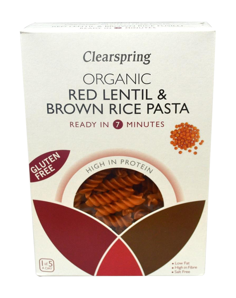 Clearspring Organic Gluten Free Red Lentil & Brown Rice Pasta - Fusilli (250g)