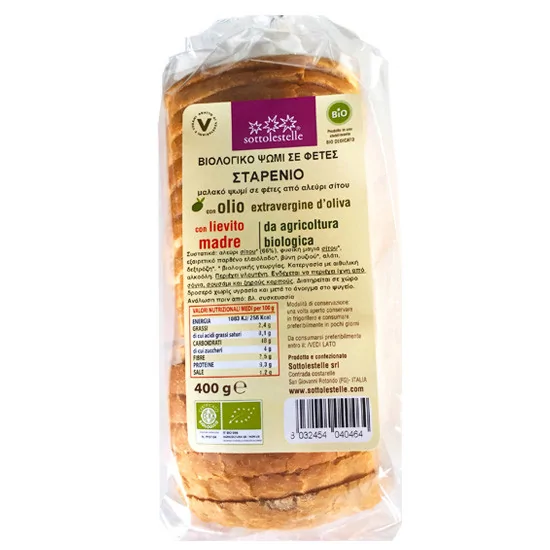 SOTTOLESTELLE ORGANIC WHEAT SLICES BREAD 400GR