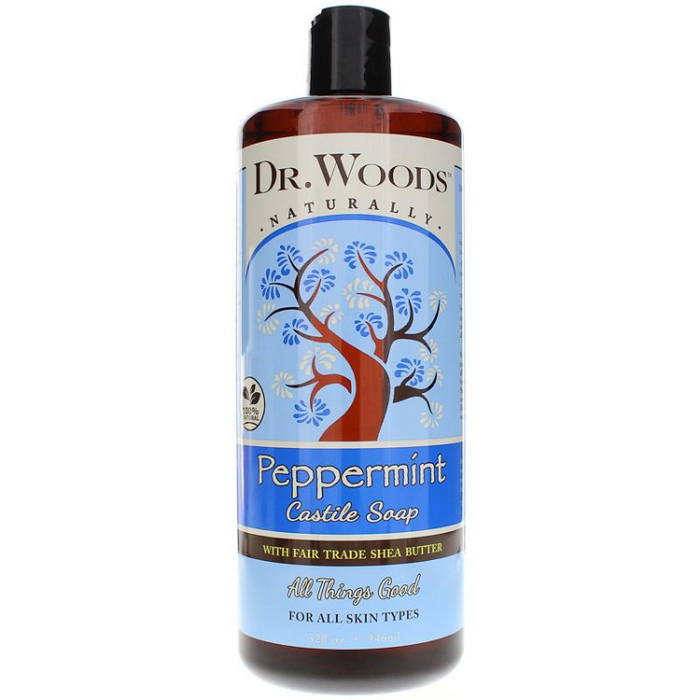 Dr. Woods Pure Peppermint Castile Soap with Organic Shea Butter, 32oz