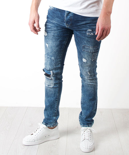 Rip And Repaired Patchwork Skinny Jeans Blue