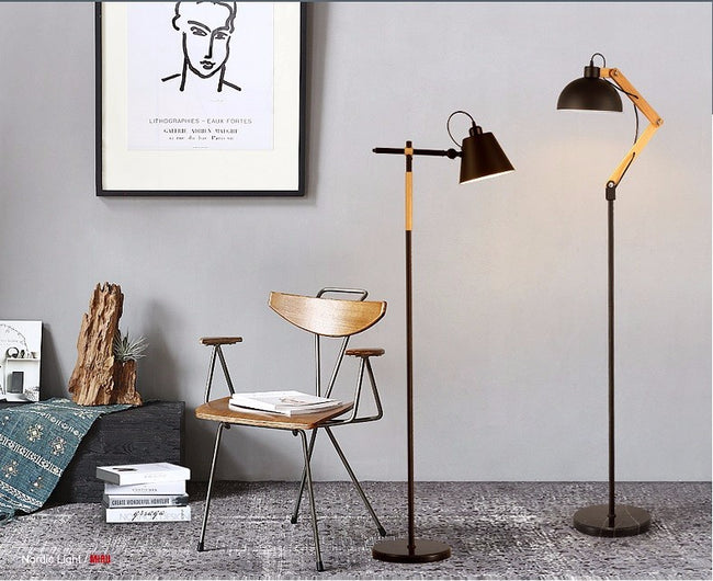 Floor lamps good light deals black floor lamp with metal rod and wood arm mozeypictures Choice Image