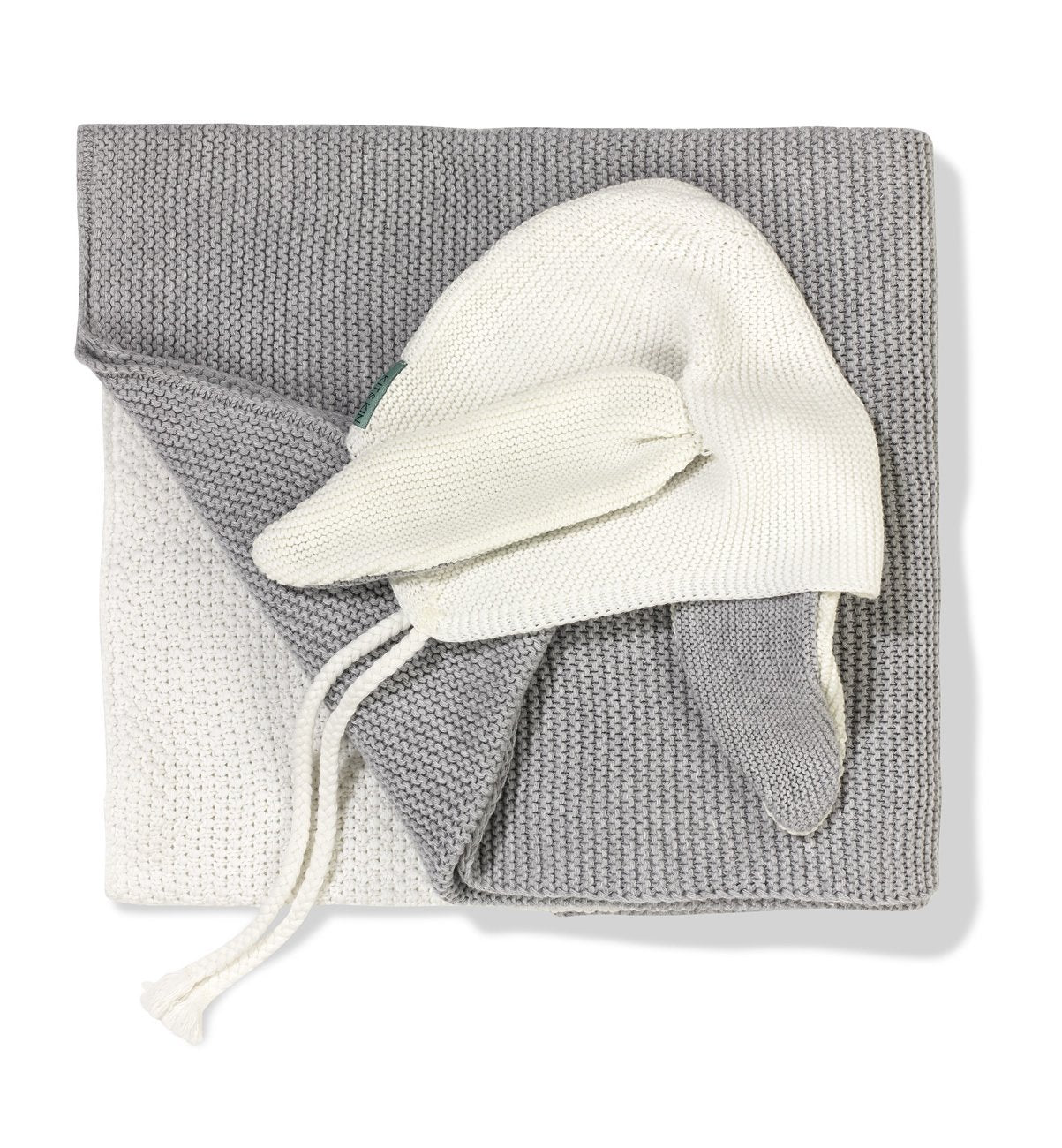 100% organic cotton grey hat and blanket bundle