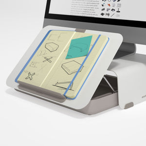A combination of the White Bento Monitor Stand Adjustable and the Bento Toolbox as Document holder on a white background.