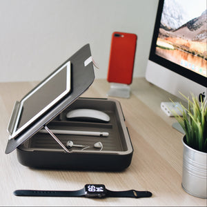 Bento toolbox - personal storage box, notebook holder, tablet holder and document holder in one - black