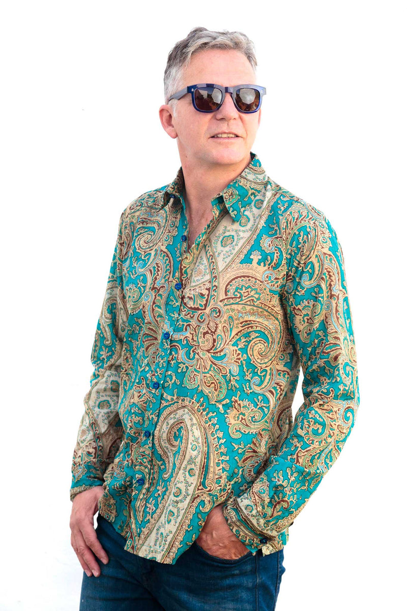 Camisa Hombre Psychedelic Turquoise