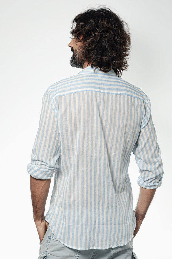 Camisa ANDY Sky Blue Stripes - Cloud9 Ibiza